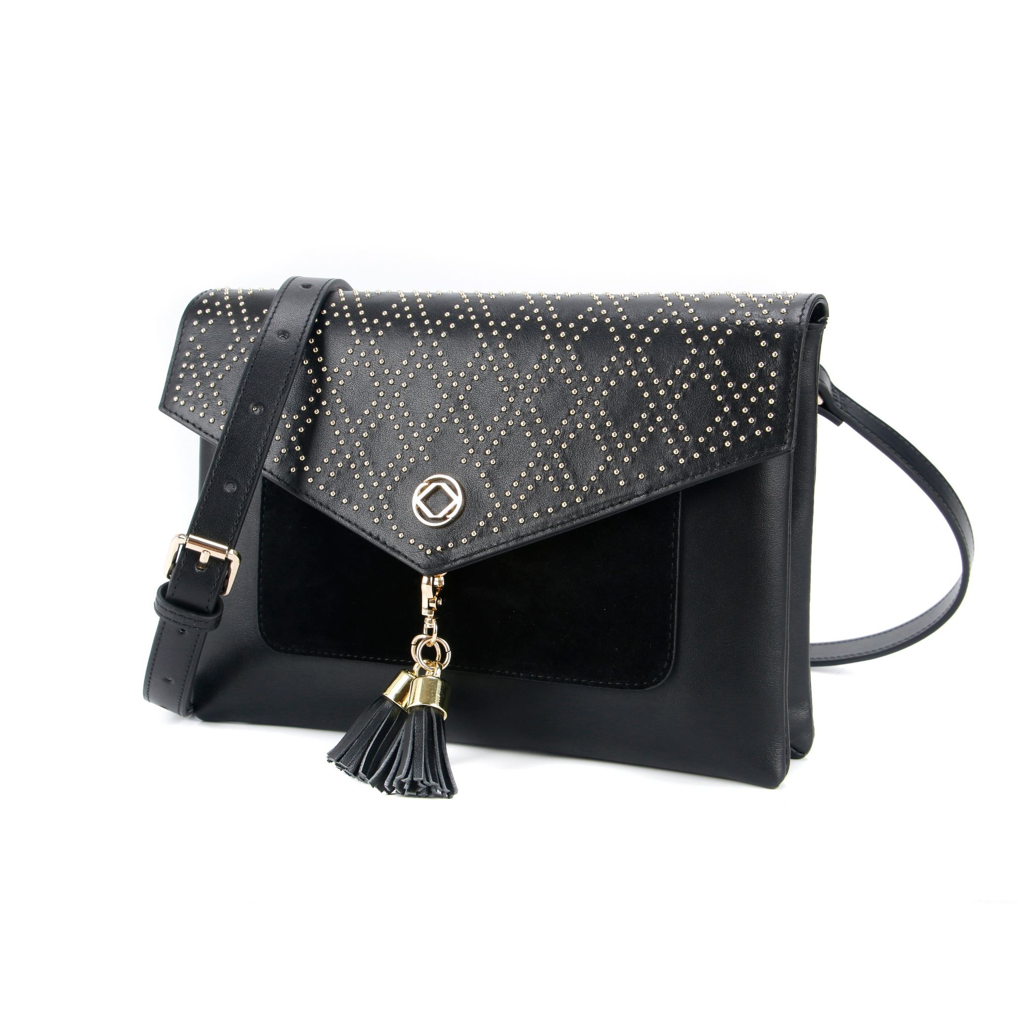 Harry Studded leather purse with a cross body strap. Image shows front view with removable tassels and cross body buckle strap.