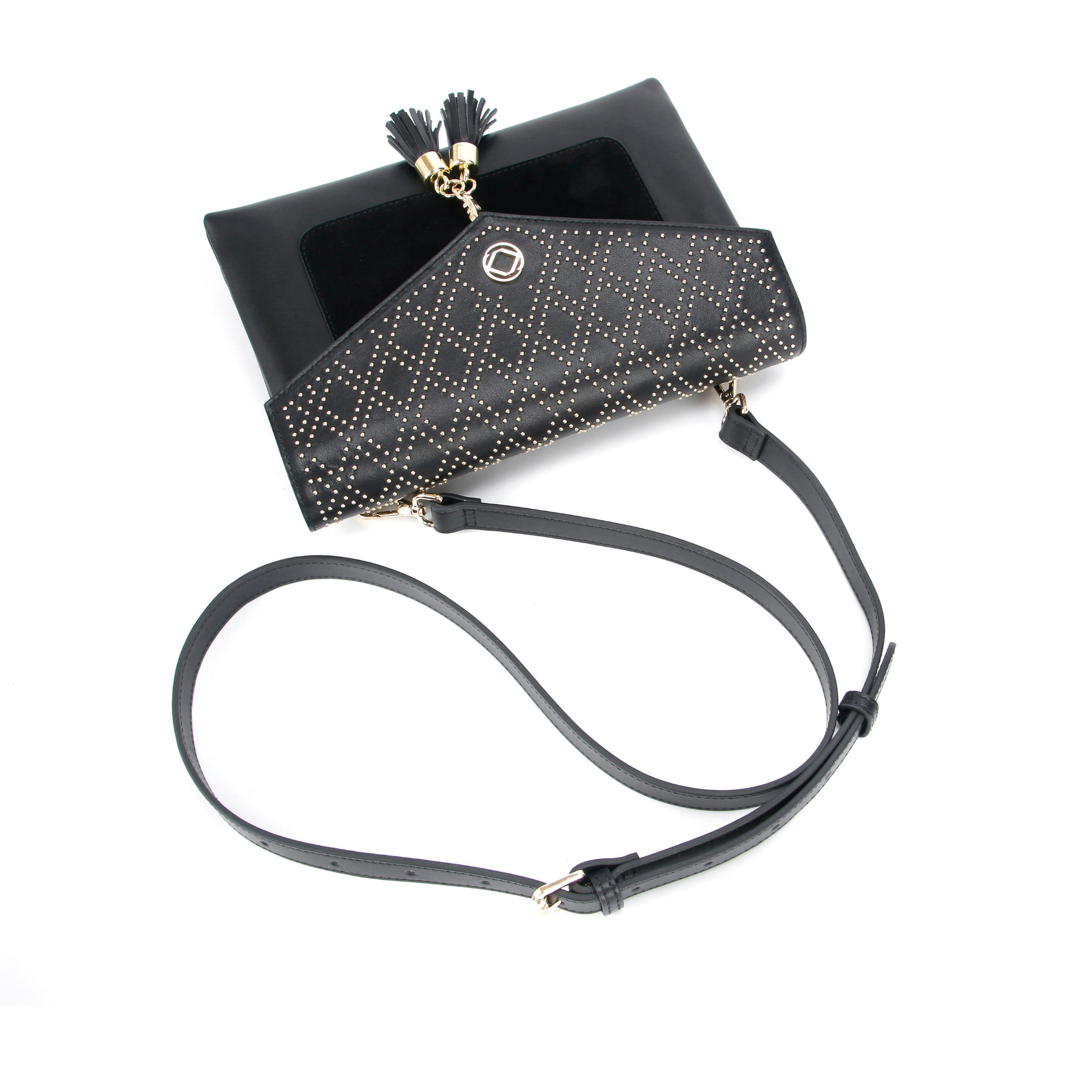 Harry black studded leather clutch and cross body bag -front view. trimmed with suede and removable tassels.
