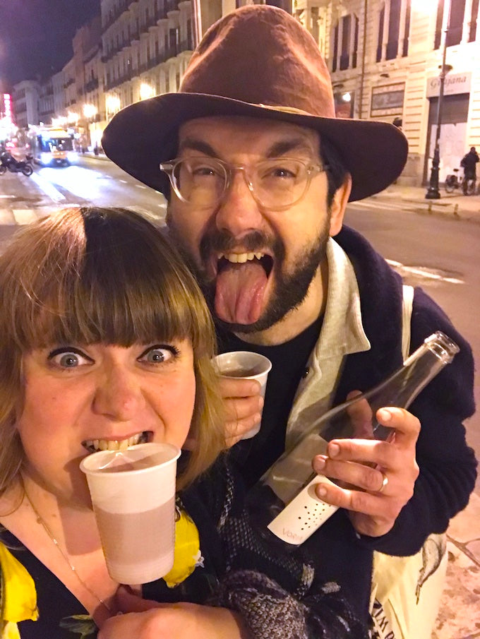 Chris & Anika first discovering VOIRA by Porta Del Vento, on the streets of Palermo. A wild night!
