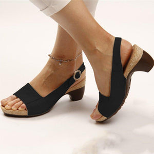Elegant Low Chunky Heel Comfort Women Summer Sandals