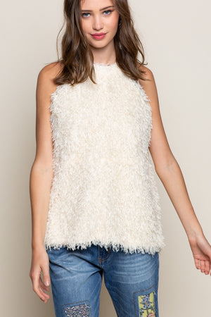 Ostrich Feather Sleeveless Swing Top