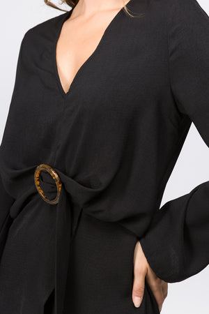 L/S Faux Wrap Dress w/Buckle