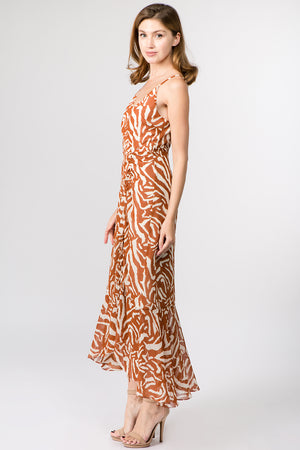 Tiger Print Drawstring Maxi Dress