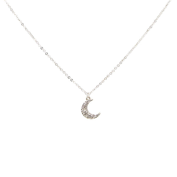 Dainty Diamond Moon Necklace