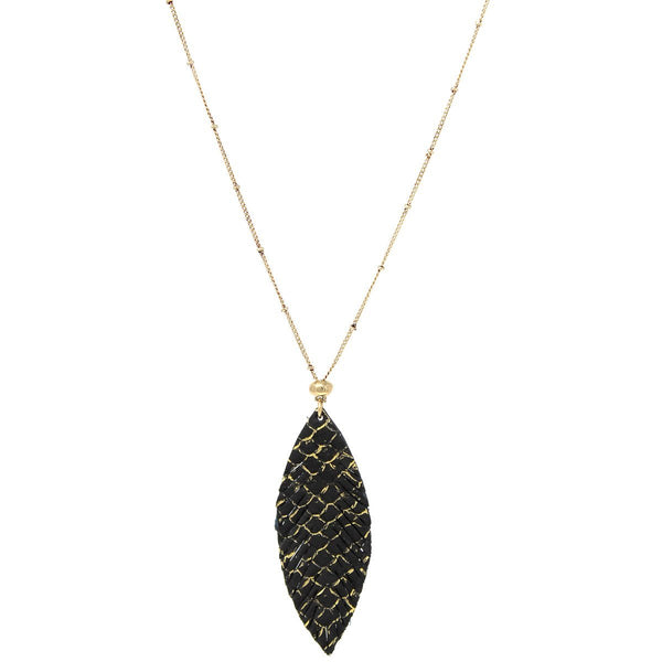 Faux Leather Snake Leaf Necklace