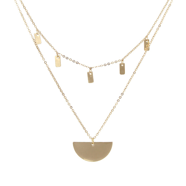 Layered Drops Half Moon Necklace