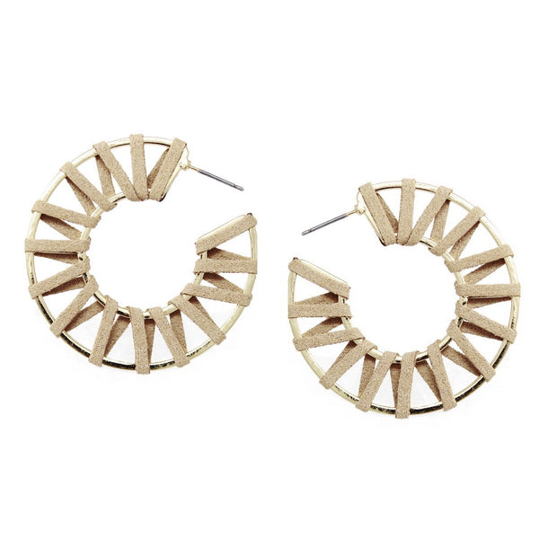 Leather Woven Hoop Earrings