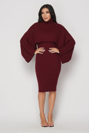 Wide Sleeve Turtleneck Sweater Dress
