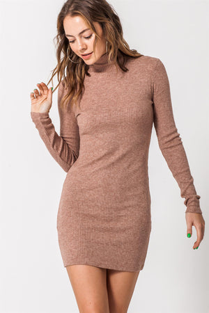Highneck Ribbed Bodycon Sweater Dress