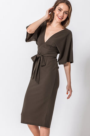 Kimono Open Back Midi Dress