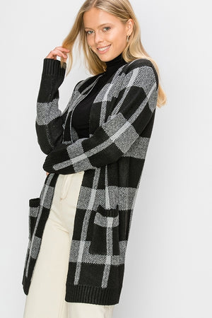 Plaid Maxi Cardigan Sweater