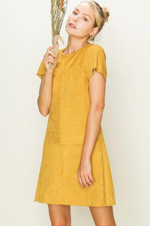 Scalloped Faux Suede Shift Dress