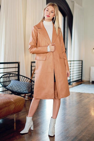 Faux Leather Open Trench Coat