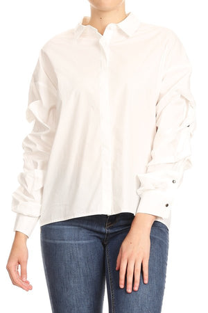 Oversized Ruffled Sleeve Blouse