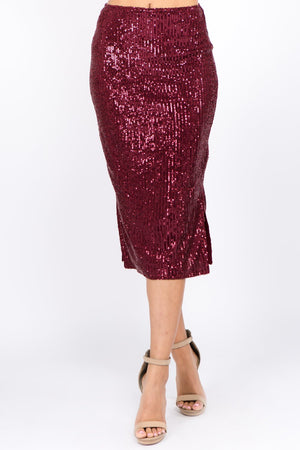 Sequin Pencil Midi Skirt