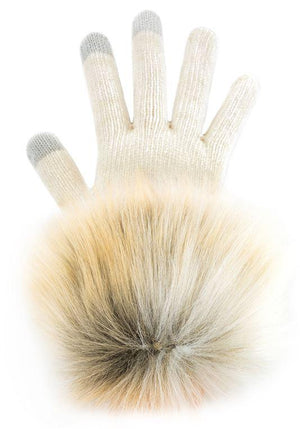 Arctic Fox Faux Fur-Trimmed Tech Gloves