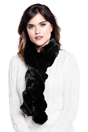 Oynx Mink Couture Ruffle Scarf