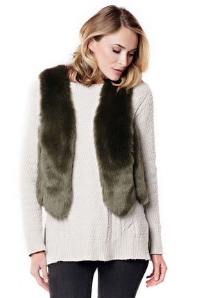 Scalloped Faux Fur Vest