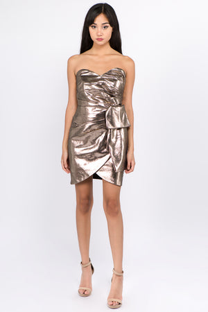 Foil Leather Strapless Party Dress