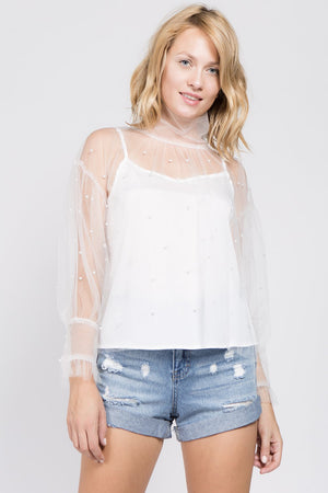 Highneck Sheer Pearl Blouse