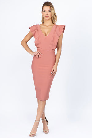 VNeck Ruffle Bandage Dress