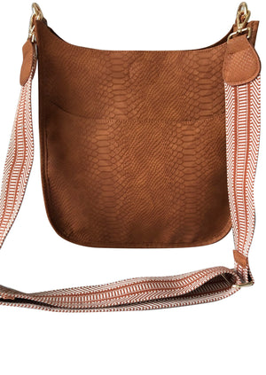 Classic Faux Snake Messenger Bag with Aztec Strap