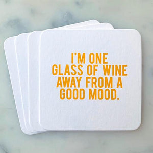 One Glass of Wine Coasters