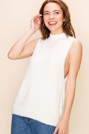 Highneck Side Slit Sleeveless Sweater