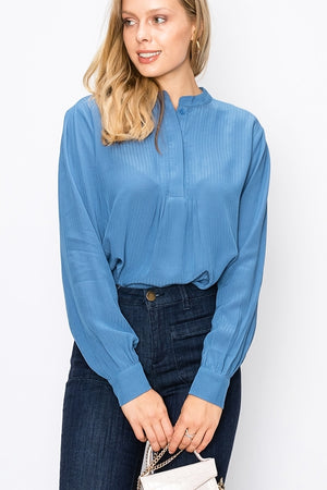Round Collar Bib Blouse