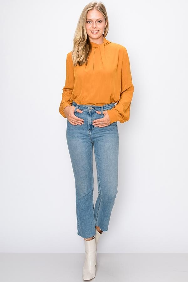 Highneck Pleated Front Blouse