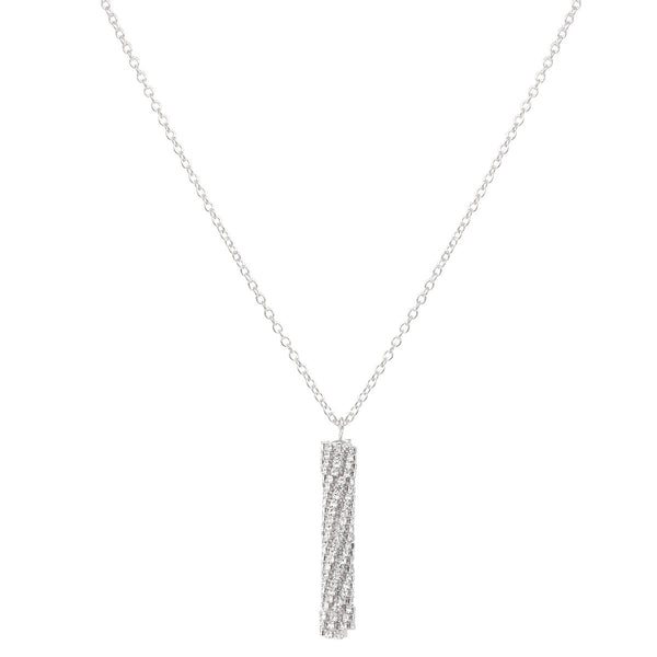 Diamond Cylinder Pendant Necklace