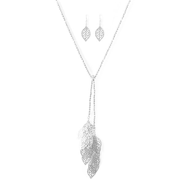 Leaves Beaded Lariat Necklace