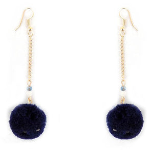 Single Pom Drop Earrings