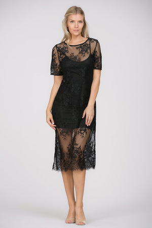 LACE PEEK-A-BOO SLIP DRESS