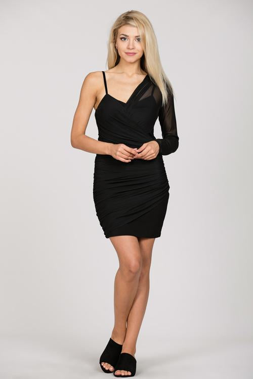 ONE SHOULDER ROUCHED DRESS