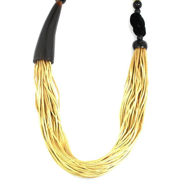 Silk Rope & Horn Necklace