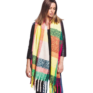 Rainbow Plaid Fringe Oversized Scarf