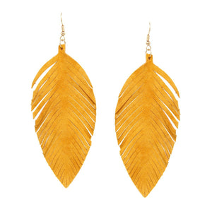 Faux Suede Feather Earrings