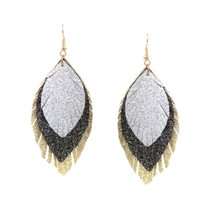 Layered Sparkle Leaves Earrings