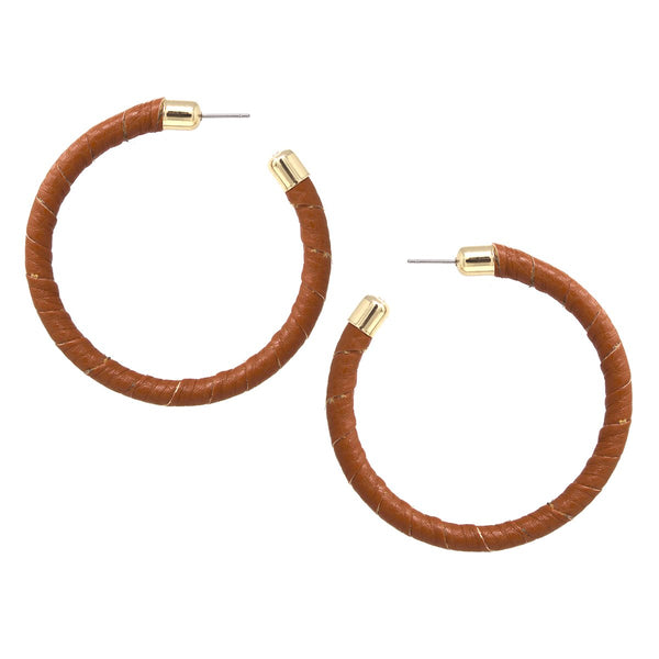 Faux Leather Wrap Hoops