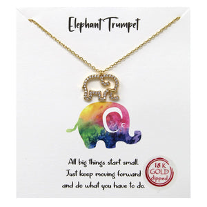 Elephant Trumpet Carded Necklace
