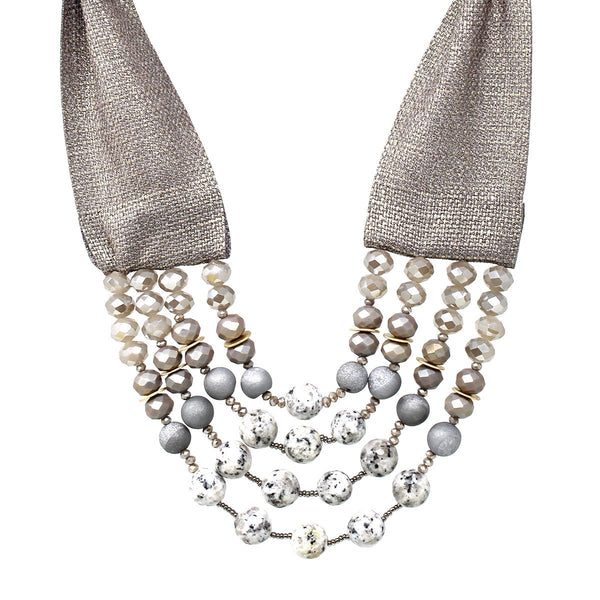 Ribbon & Beads Layered Stmt Necklace