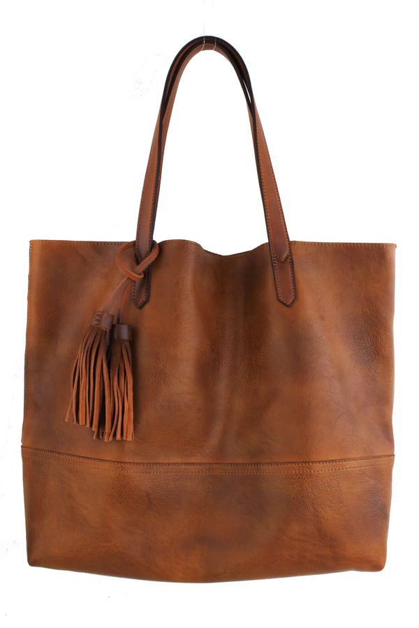 Weathered Hobo Tote with Tassels