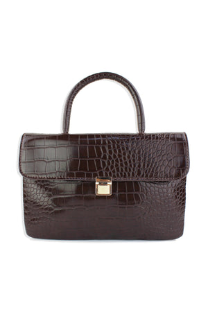 Embossed Croc Top Handle Purse