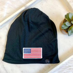 American Flag Patch Beanie