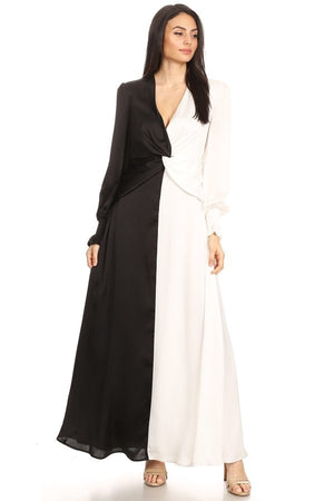 Satin Colorblock Maxi Dress