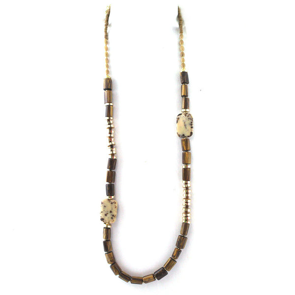 Tribal Wood & Stone Necklace