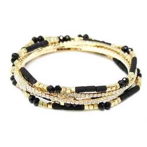Multi Bead & Diamond Bracelet Set