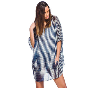 Hooded Nautical Stripe Pull Over