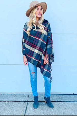 Plaid Button Scarf